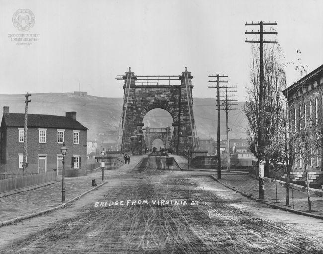 View of the Wheeling Suspension Bridge from Virginia Street.