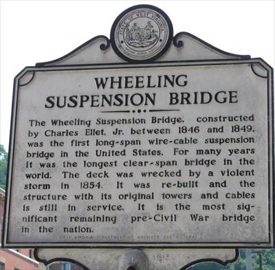 Wheeling Suspension Bridge historical marker.