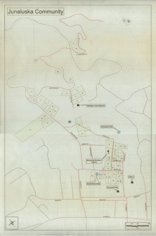 A property map that shows plots of land that belong to the Junaluska Community