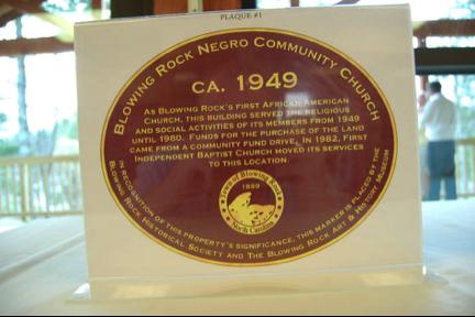Blowing Rock Negro Community Church Historic Plaque/Marker