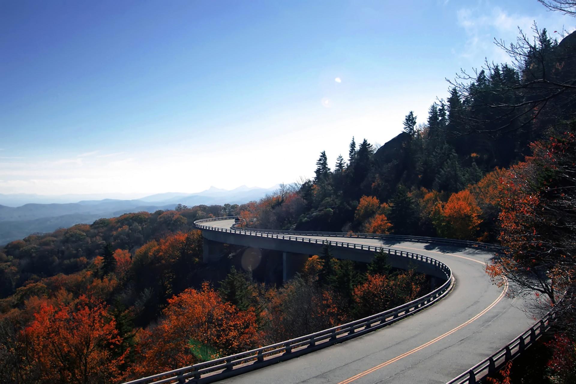 The Linn Cove Viaduct in fall