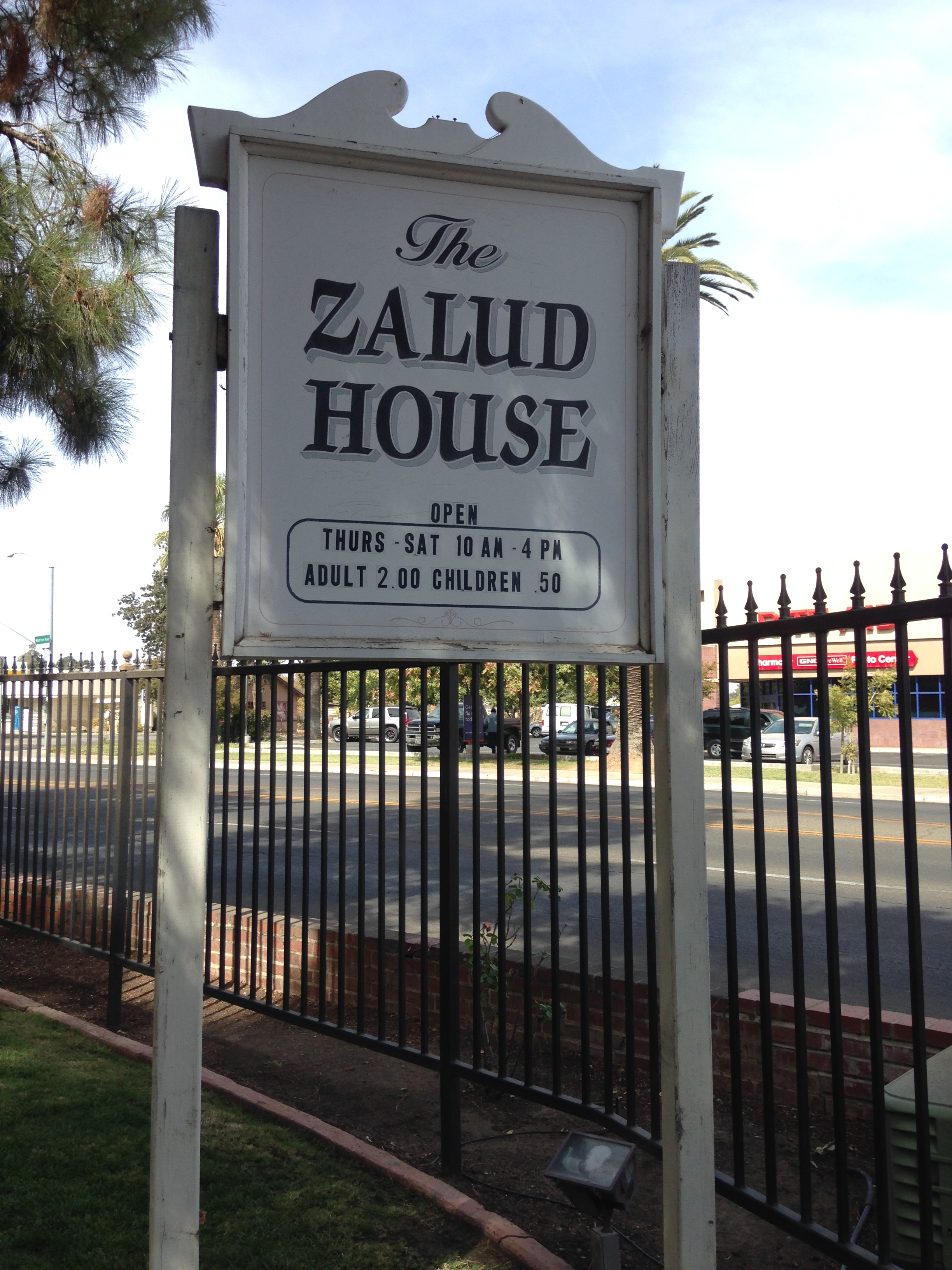 Zalud House Museum sign