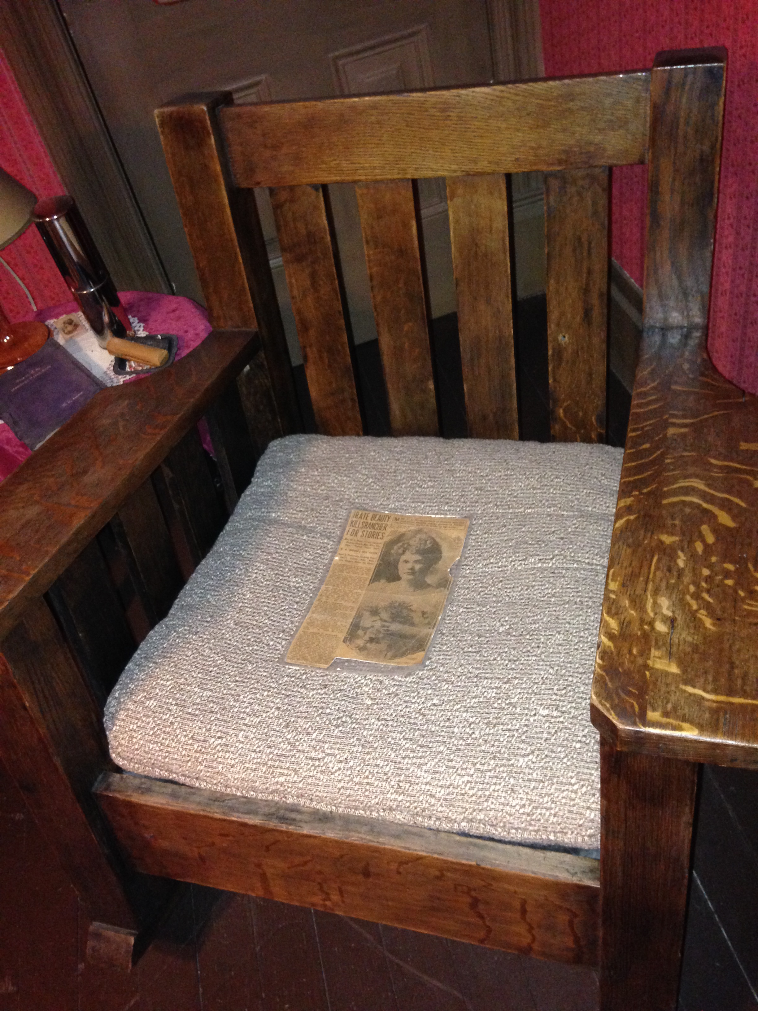 The Zaluds' son-in-law, William Brooks, was murdered in this chair by a Mrs. Juliette Howe in 1917. The chair, featuring bullet holes from the shooting, is on display in the house.