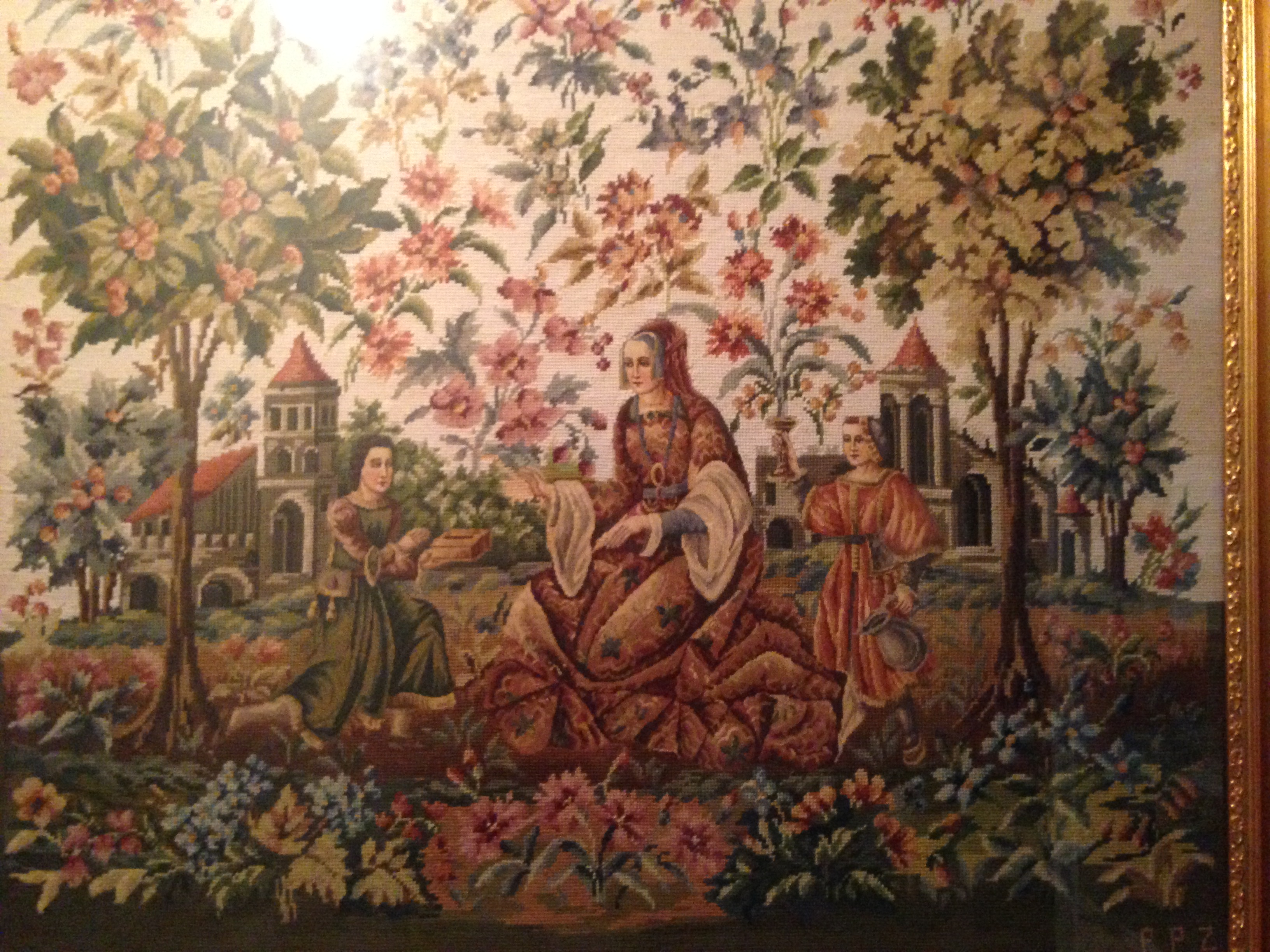 A tapestry done by Mary Zalud, the matriarch of the family.