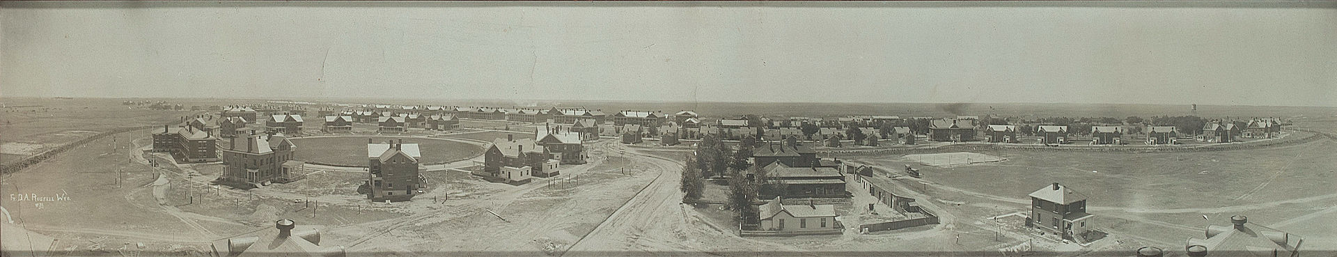 Aerial view of Fort Russell, circa 1890s-1900s