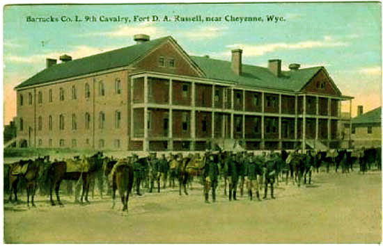 Postcard of men from the 9th Cavalry (An African American unit during the era of racial segregation) at Fort Russell