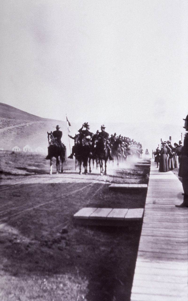 Company M of the 1st Cavalry arrive to Mammoth Hot Springs in 1886