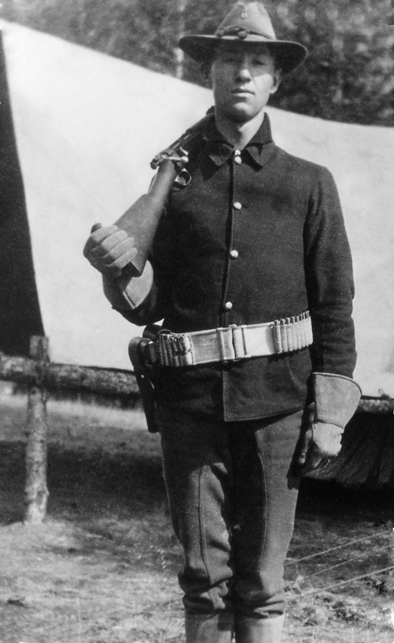 Soldier on guard duty in the park in 1903