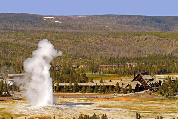 Old Faithful Geyser and the Old Faithful Inn