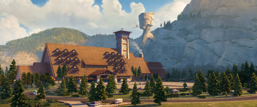 Disney's Plane: Fire and Rescue's Piston Peak Park and its Inn that resembles the Old Faithful Inn