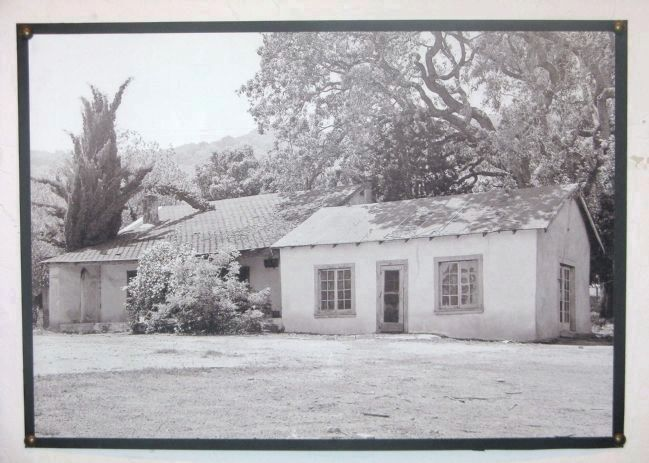 Original adobe (left) with barn remodeled as kitchen (right) (image from Historical Marker Database)