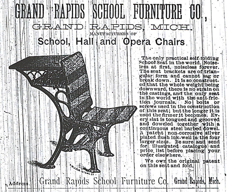 The Grand Rapids School Furniture Company, which would become the American Seating Company, revolutionized the industry with their foldable seats and desk/bench combos
