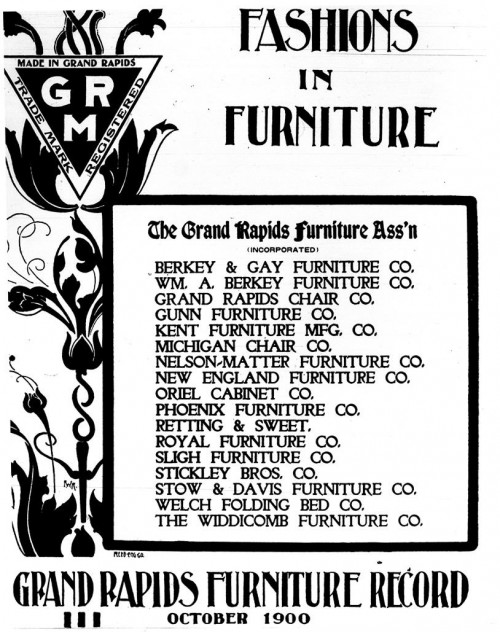 "The Grand Rapids name was so well-known that local manufacturers trademarked to prevent furniture-makers from out of state trying to capitalize on it. Furniture marked with the red triangle and ""GRM"" to the left in this advertisement guaranteed that the p"