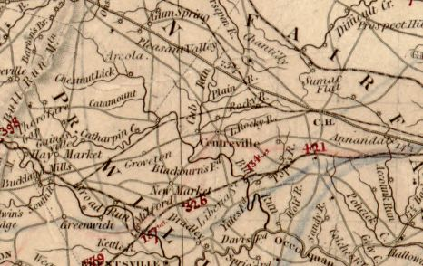 Section from Herman Boye's Nine Sheet Map (1828) depicting Centreville