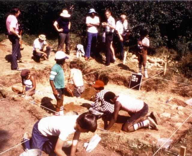 Dick Gregory visits excavation site in 1976 conducted by Dr. Deetz