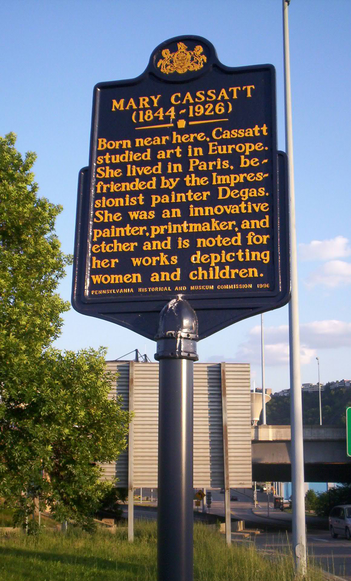This historical marker is located near Cassatt's birthplace, where she lived until age 4.