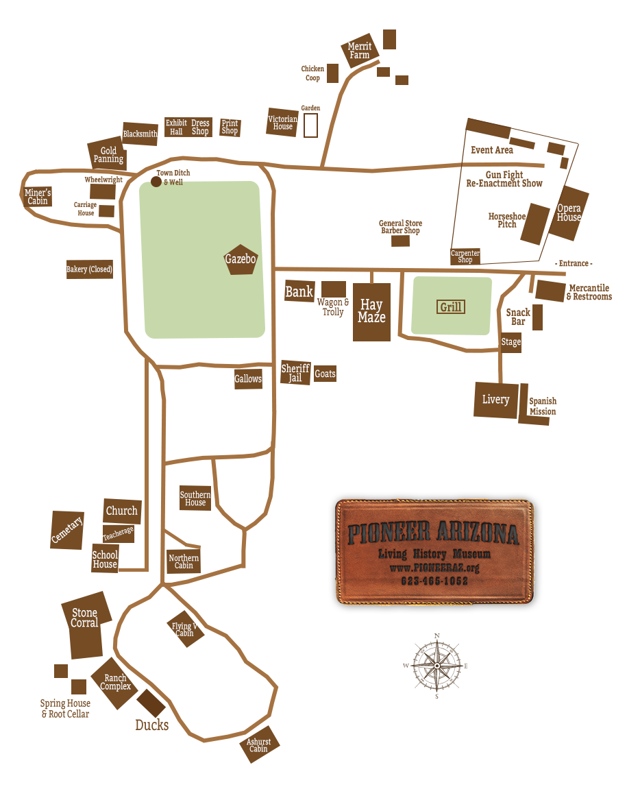 Map of Pioneer Living History Museum.