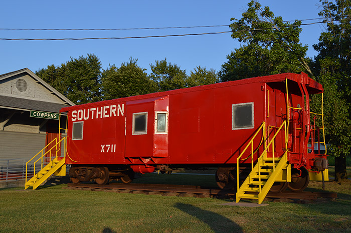 The Cowpens Depot features this rail car next to it.