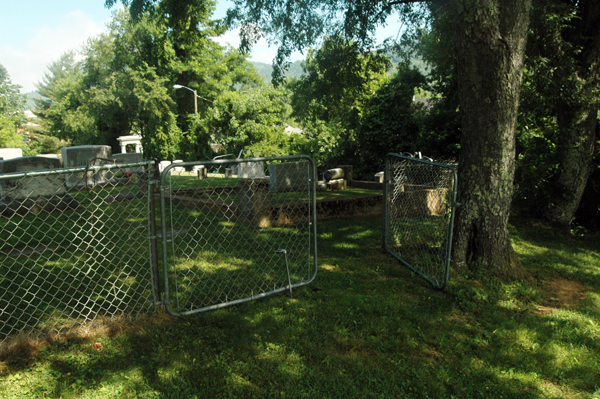 This is a view from the black section of the cemetery of the gate that one must walk through to get between the two sections of the cemetery.