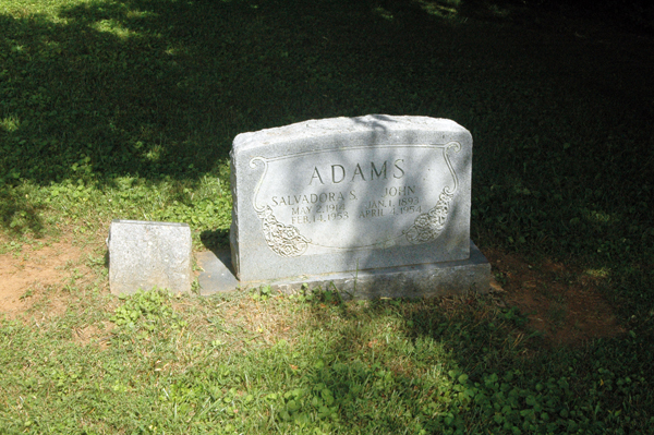 One of the two remaining headstones in the black section of the cemetery.