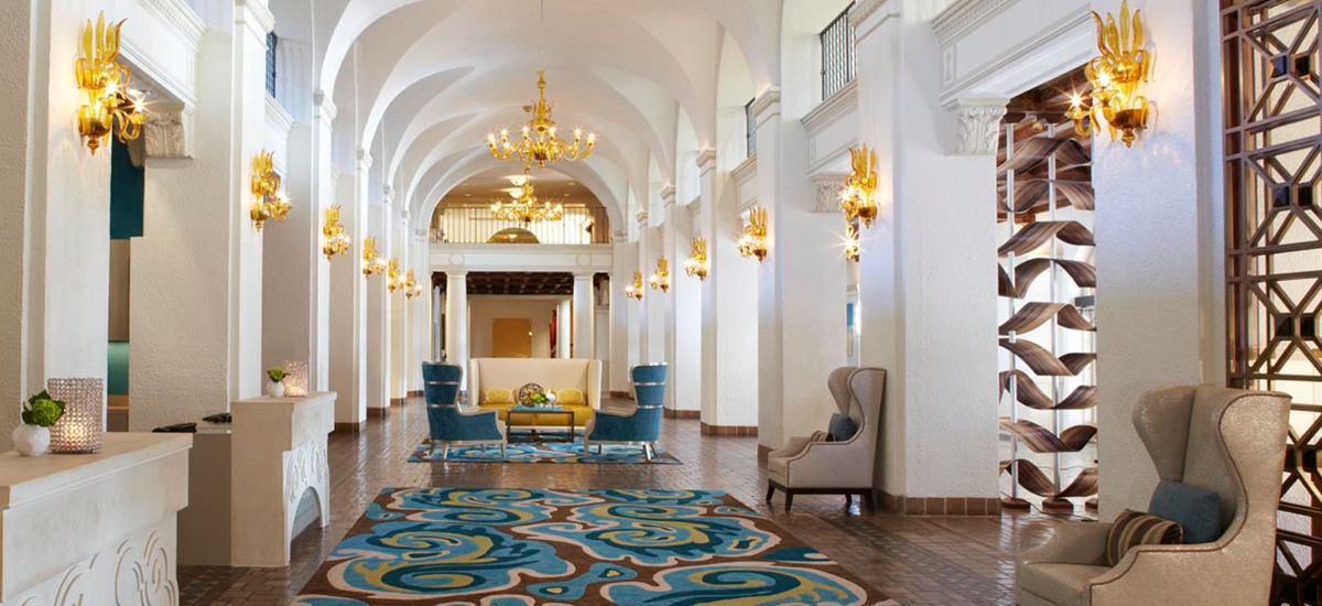 The interior of the hotel now blends modern furnishings with the hotels signature arched terraces.