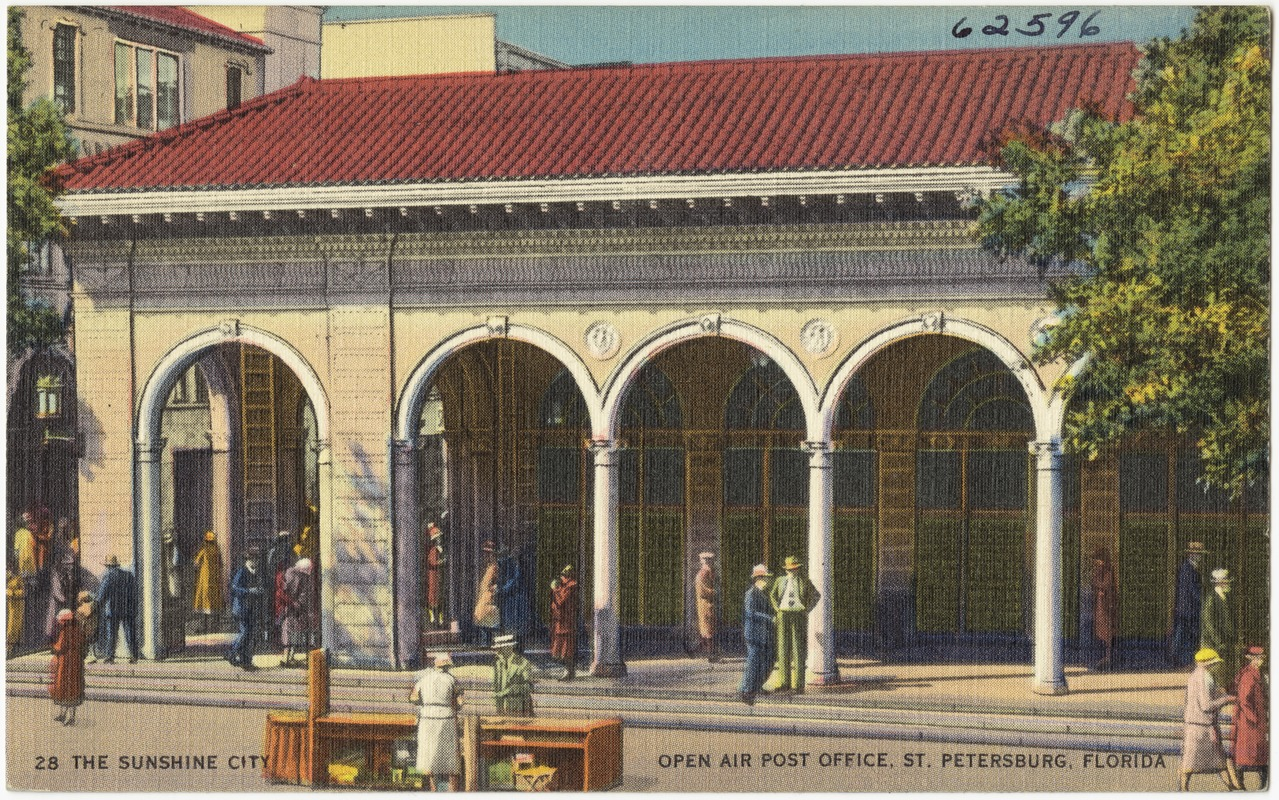 "A postcard of the ""new"" post-office circa 1920."