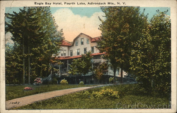 The Eagle Bay Hotel before it burned to the ground in 1944.