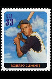 "The Roberto Clemente stamp, in the Legends of Baseball series, is part of twenty great players named the ""All Century Team."" He was selected by fans and special panel to be a part of the team. The stamp was released in 2000 in Atlanta, Georgia."