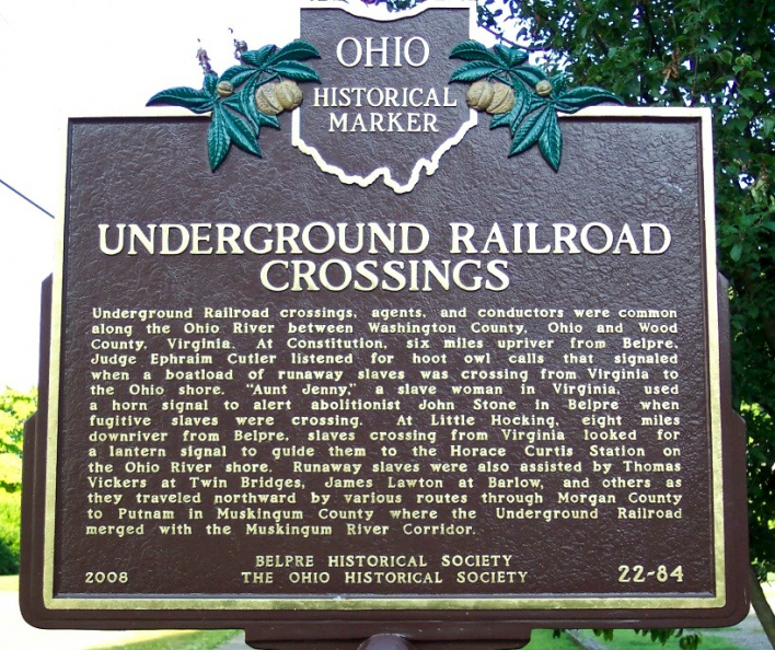 Historical marker commemorating role of Edna Sutton in Underground Railroad in Washington County, Ohio.