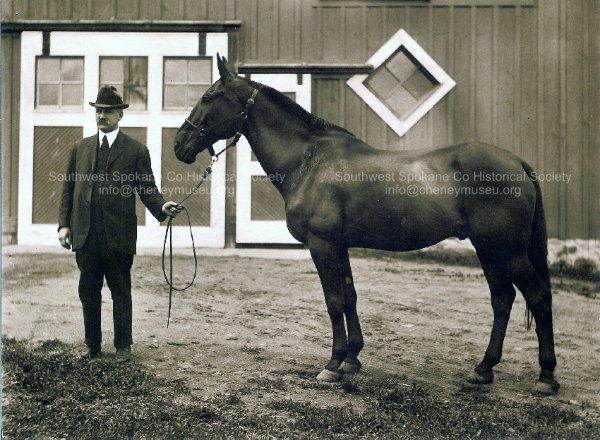 William J. Sutton in front of the barn with one of his horses.