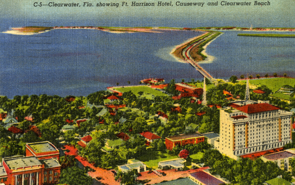 A postcard showing the hotel and the causeway circa 1950.