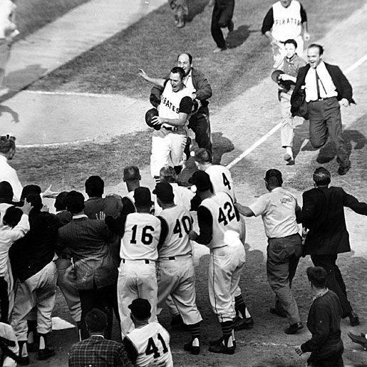 Celebration at home plate after Mazeroski's home run in the 1960 World Series