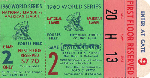 Ticket stub from the 1960 World Series