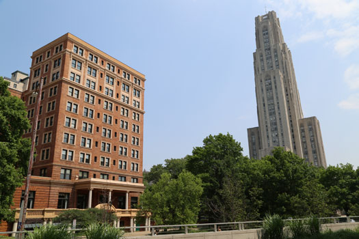 The William Pitt Union with the Cathedral of Learning in the background.