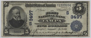 1902 currency from the Bank of Tampa bearing T. C. Taliaferro's image and signature.