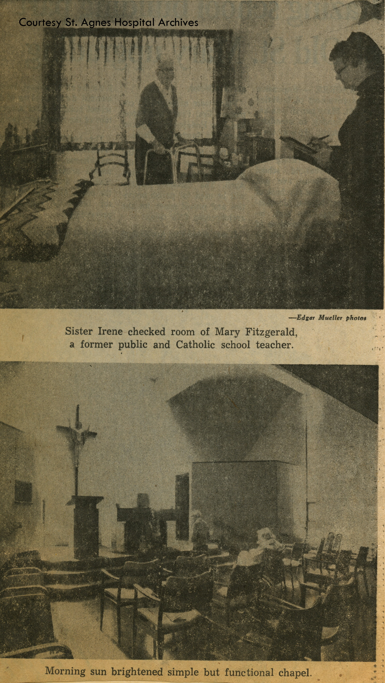 News clipping showing interior of St. Francis Home, 1978.