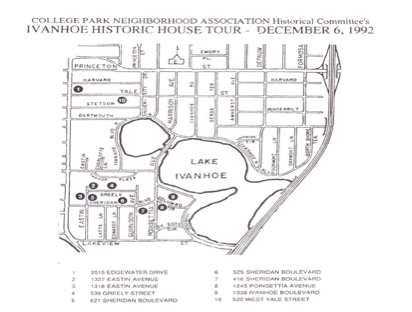 A 1992 survey conducted for the city of Orlando of the Ivanhoe area of  College Park, featuring number 3, the Eastin House.