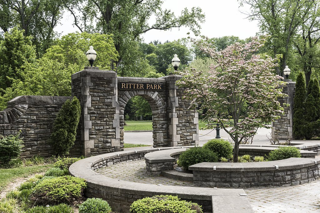 One of the main entrances into Ritter Park is this stone archway, believed to have been built by the WPA in the 1930s. Image courtesy of the Library of Congress.