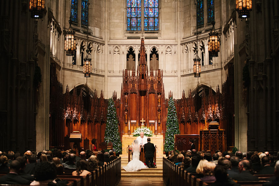 A wedding ceremony taking place within the chapel.