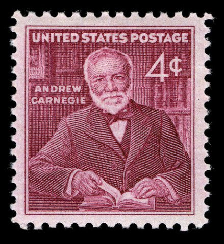 Andrew Carnegie began a series of philanthropic pursuits in Pittsburgh from the fortune he made from the steel industry. This stamp issued November 25, 1960, through the New York, New York post office honors his contributions to the arts & education.