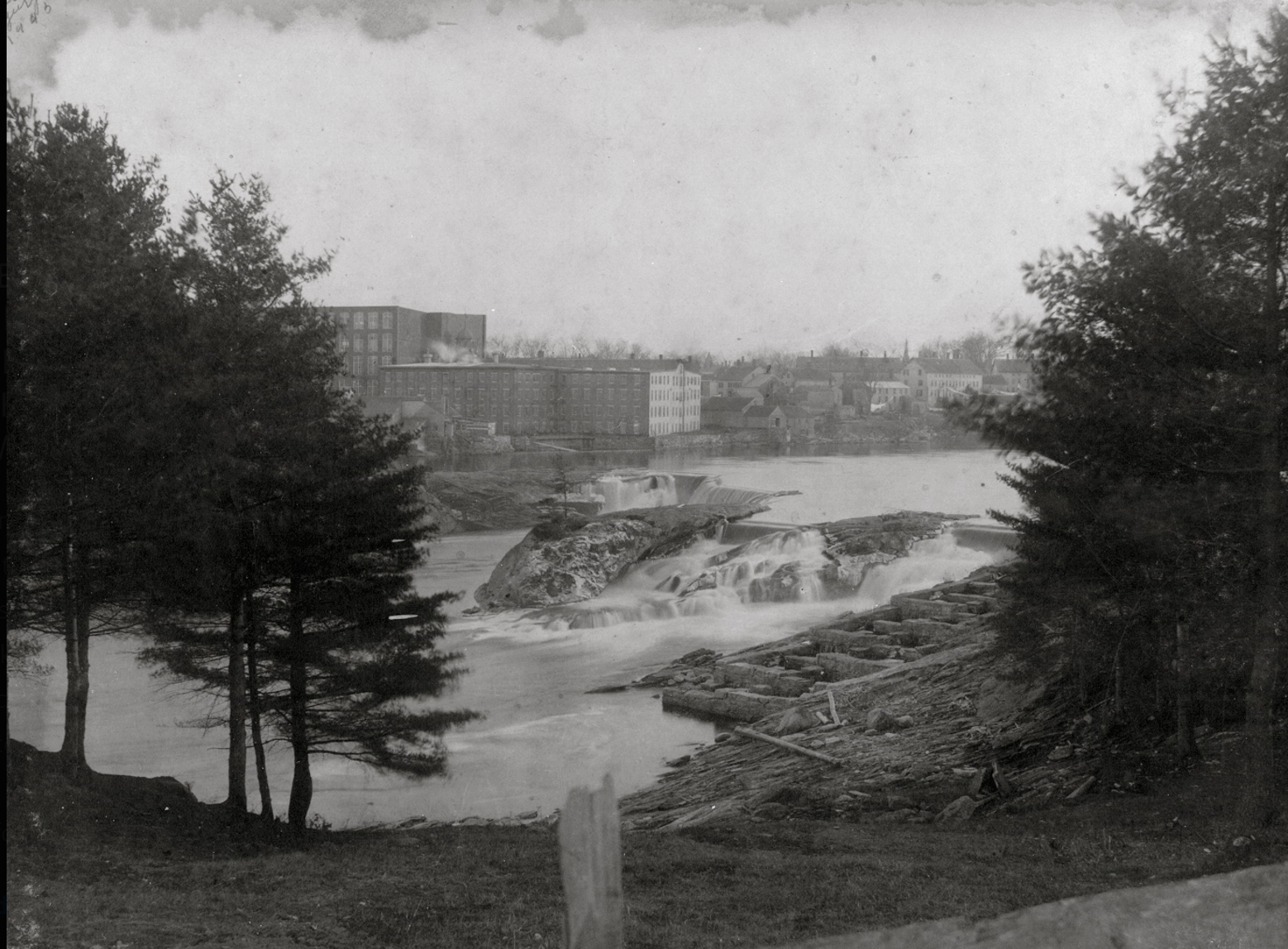 A picture of Fort Andros from across the river when it was first established.