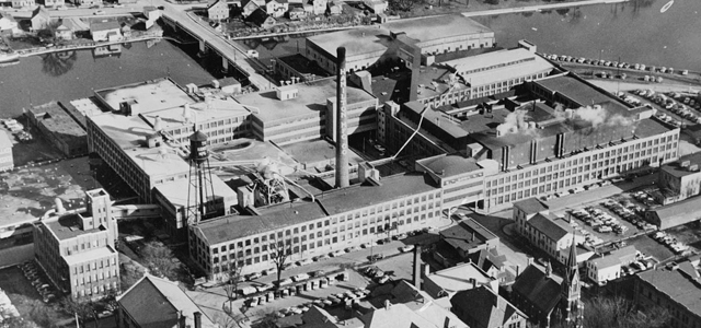 Aerial shot of Hamilton Manufacturing, Two Rivers, WI.
