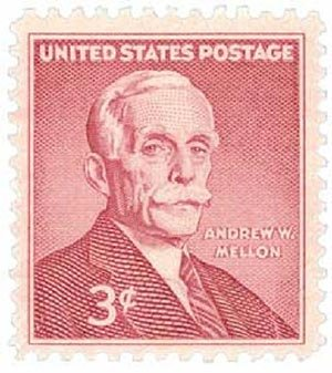 In 1955, this stamp was issued to commemorate the 100th anniversary of the birth of Andrew Mellon. The Pittsburgh-born financier and philanthropist served as Secretary of the Treasury from 1921 to 1932.