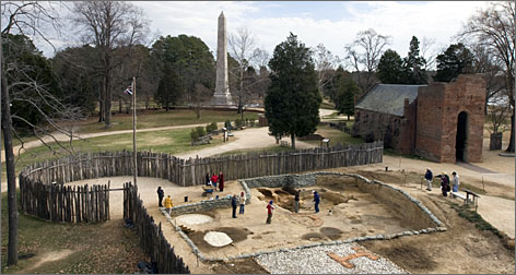 Historic Jamestowne includes a replica of the James Fort, constructed in 1607, as well as numerous preservation and education programs. (Image courtesy of Preservation Virginia; reproduced under Fair Use)