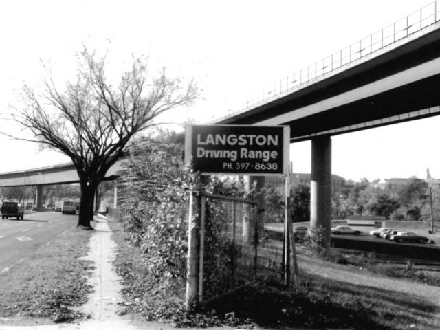 Langston Golf Course sign and motor vehicle entrance at 2600 Benning Road NE, Washington, D.C., 1991