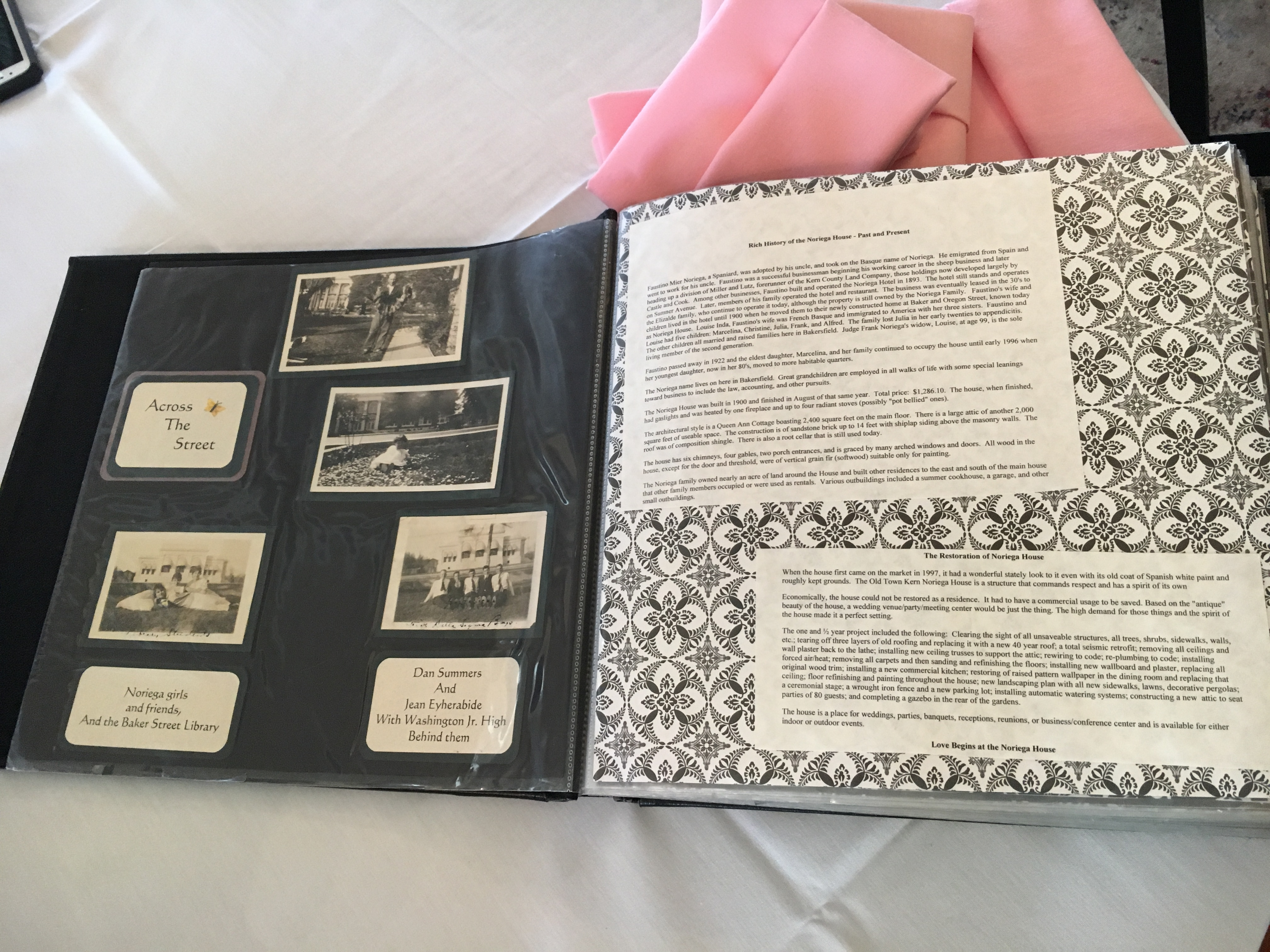Scrapbook of historical information about the house