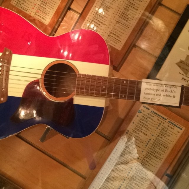 The original prototype of Buck Owens famous red, white, and blue guitar.