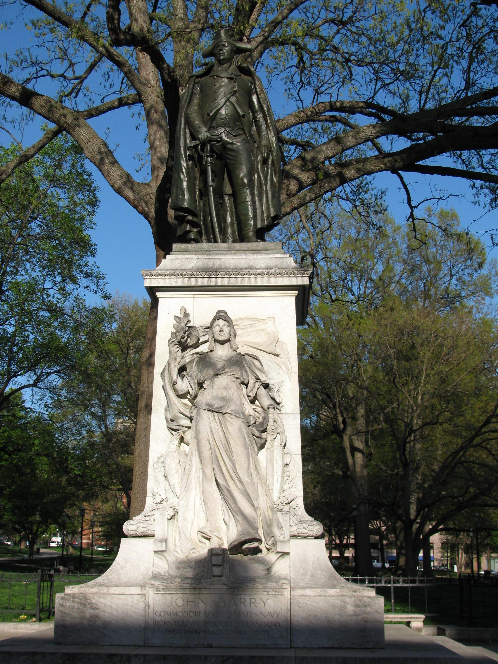 Commodore John Barry, (sculpture). Commissioned 1910, modeled 1911 to 1912, cast 1913, and installed March 26, 1914. Dedicated May 16, 1914.