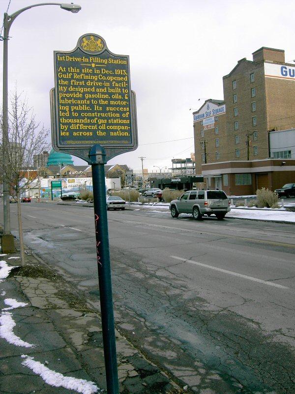 Historical marker along Pittsburgh's Baum Blvd.