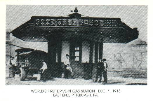 Another vintage photo of the first drive-in gas station.